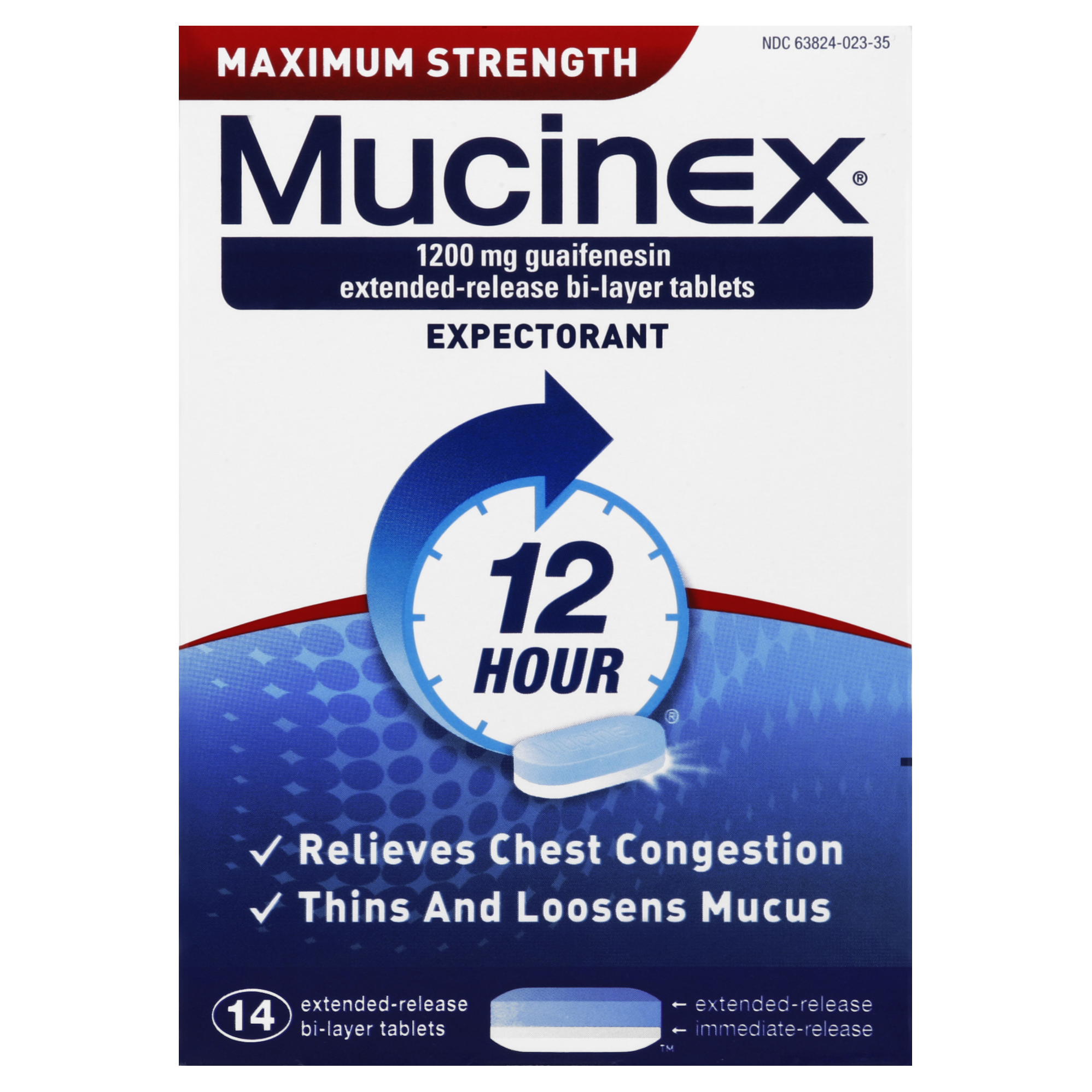 Mucinex Maximum Strength 12-Hour Chest Congestion Expectorant Tablets, 14 Count