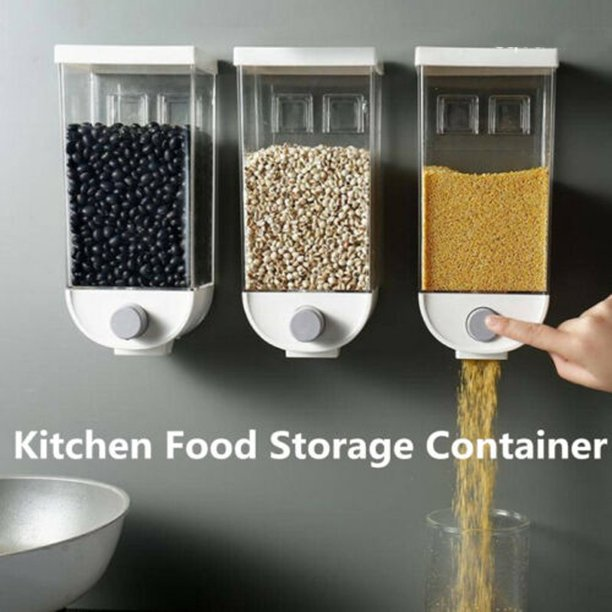 Easy Press- Kitchen Food Storage Container Cereal Dispenser Oatmeal Wall Mounted