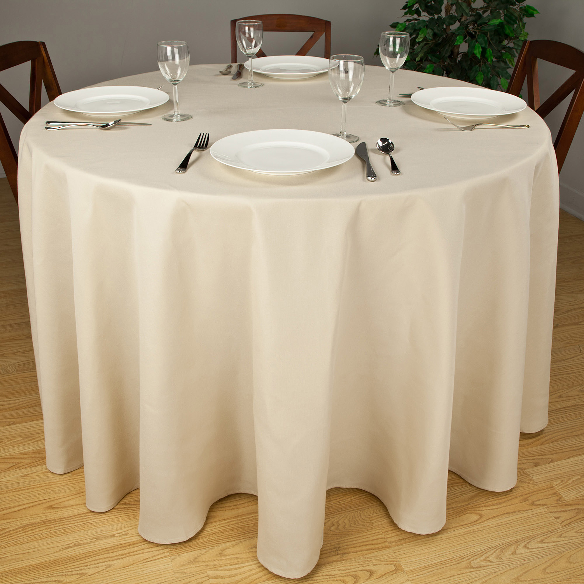 "Riegel Premier Hotel Quality Tablecloth, 90"" Round, Multiple Colors Available"