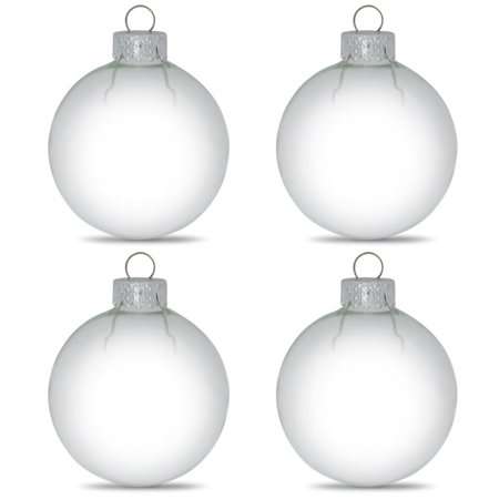 Set Of 4 Clear Glass Ball Christmas Ornaments 3 15 Inches
