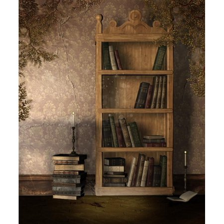 GreenDecor Polyster Old Bookcase Background Photography Vintage Wooden Bookshelf With Books Grunge Room Photo Studio Backdrop