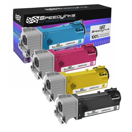 SpeedyInks - Compatible Xerox Phaser 6125 / 6125N Set of 4 High Yield Laser Toner Cartridges: 1 Black 106R01334, 1 Cyan 106R01331, 1 Magenta 106R01332, 1 Yellow 106R01333