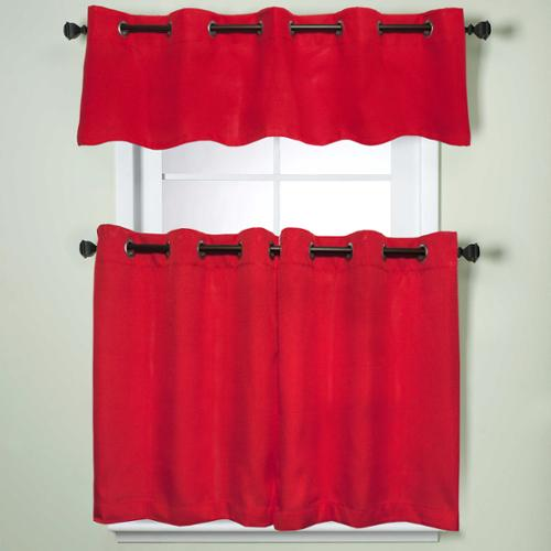 Modern Sublte Textured Solid Red Kitchen Curtains With Grommets Tiers and Valance 24 inch tier pair, red