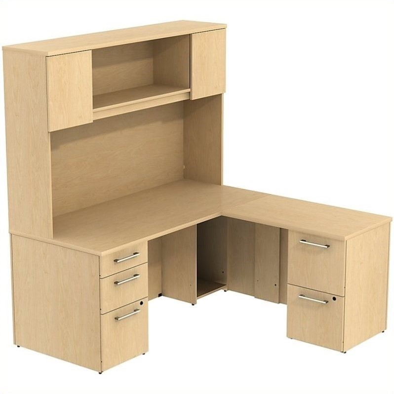"Bush Business 300 Series 66"" L-Shaped Desk with Hutch in Natural Maple"