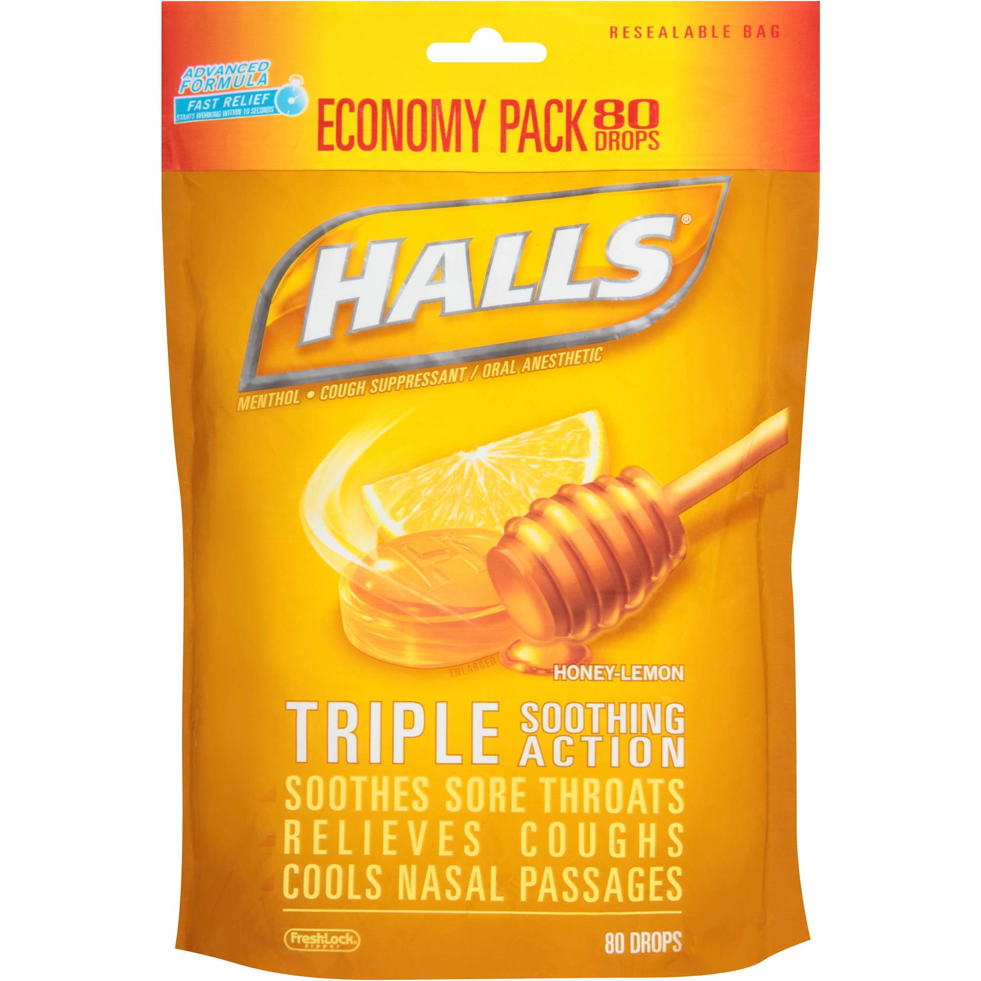 Halls Honey-Lemon Menthol Drops Cough Suppressant 80 Ct