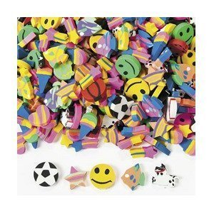 Fun Express Mini Eraser Assortment Novelty (500 Pieces)