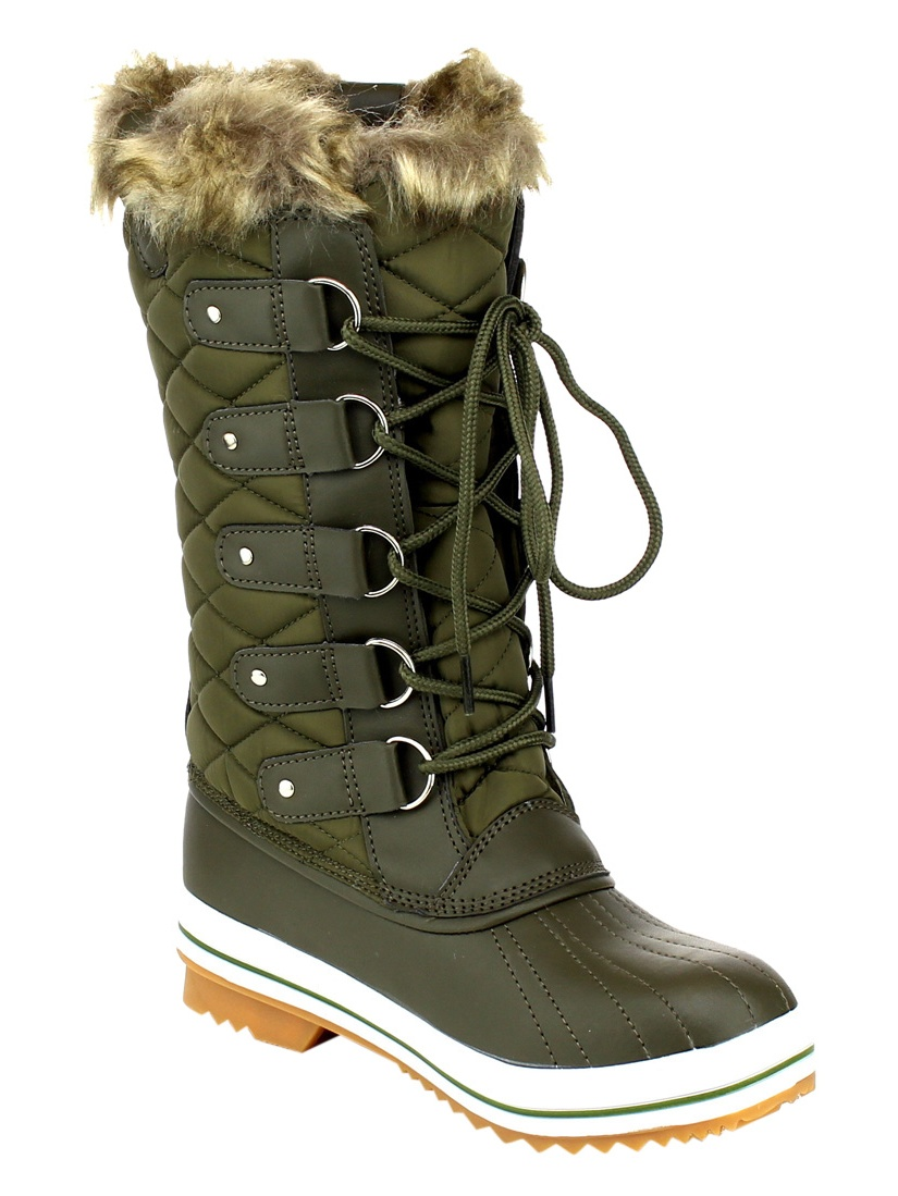 Refresh AA48 Women's Lace Up Waterproof Quilted Mid Calf Weather Snow Boots by