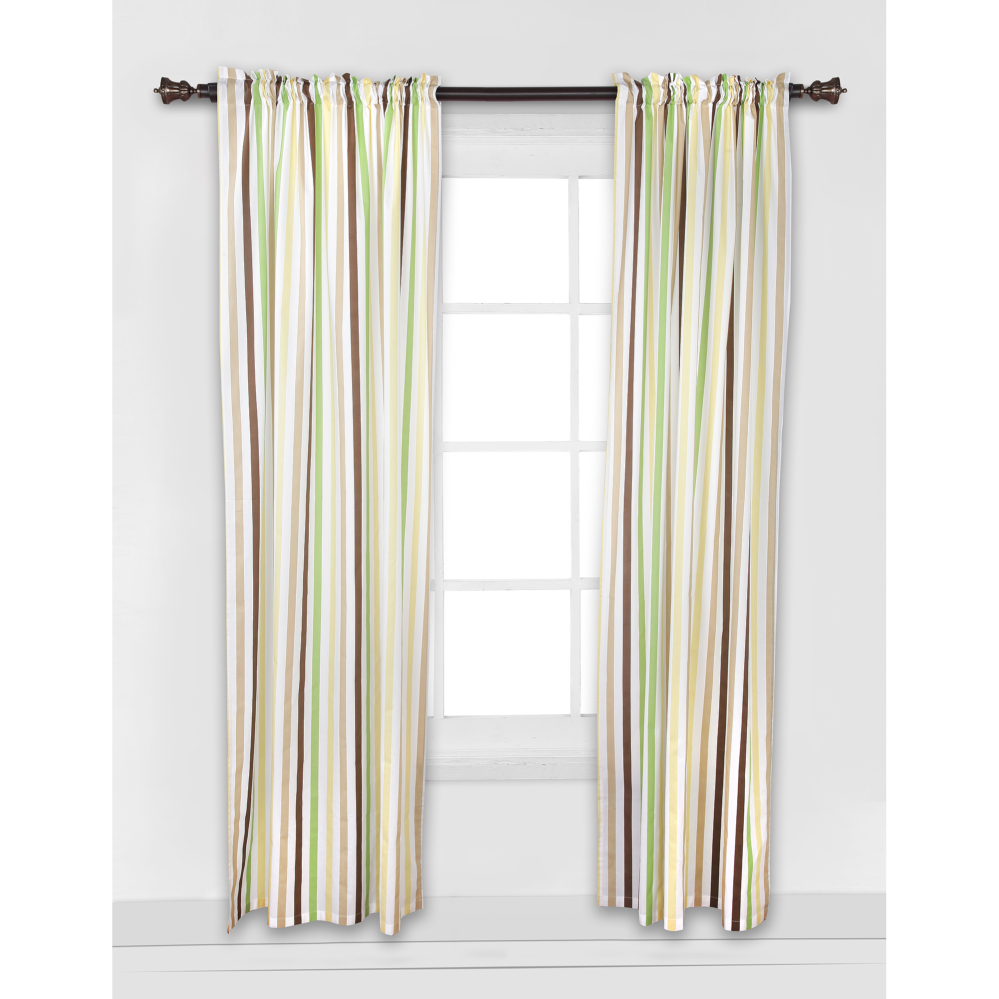Bacati - Mod Stripes Curtain Panel 42 x 84 inches 100% Cotton Percale Fabrics, Green/Chocolate