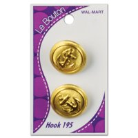 "Le Bouton 7/8"" Gold Anchor Shank Button, 2 Count"