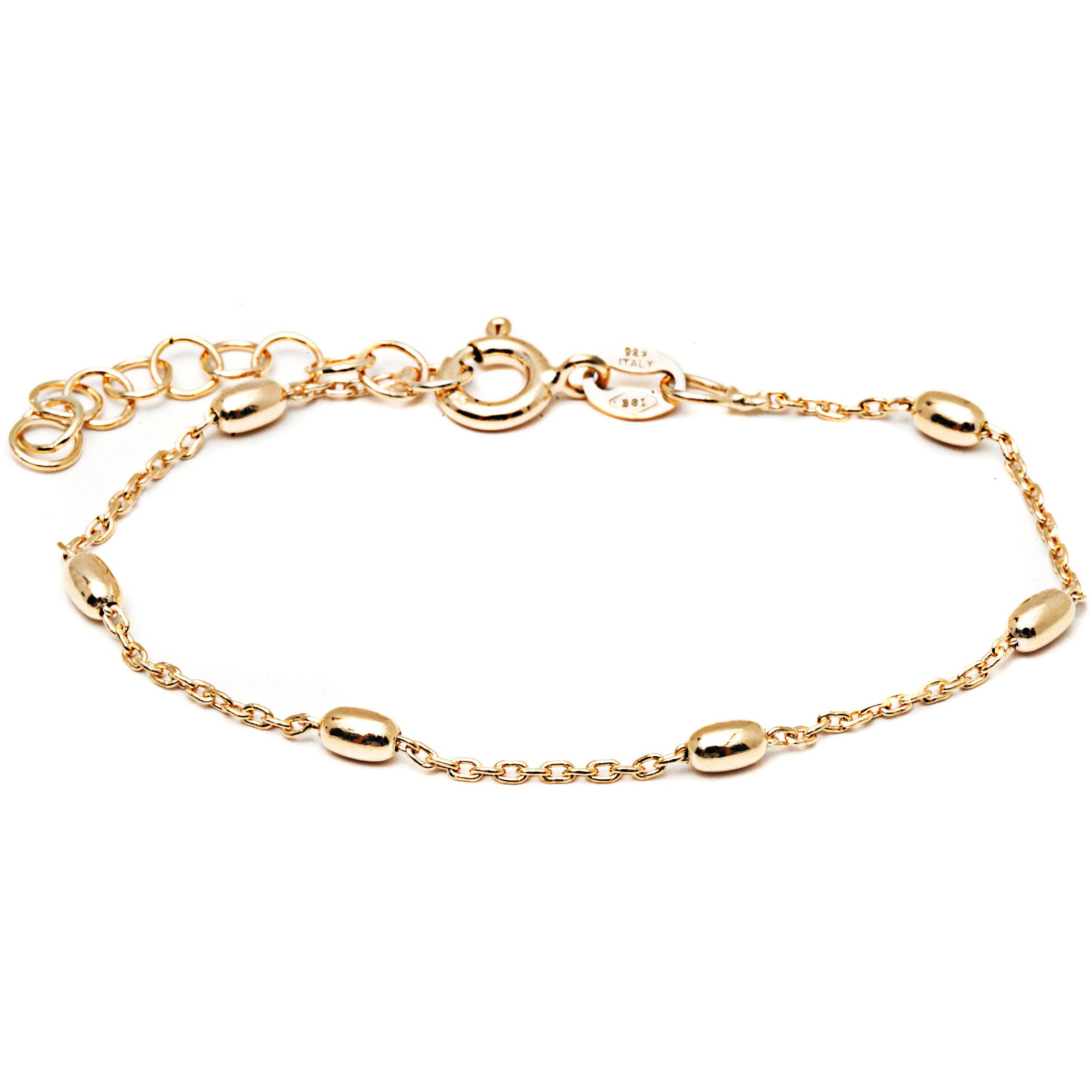 """Pori Jewelers 18kt Gold-Plated Sterling Silver Kids' Oval Bead Bracelet, 6"""" Anchor Chain"""