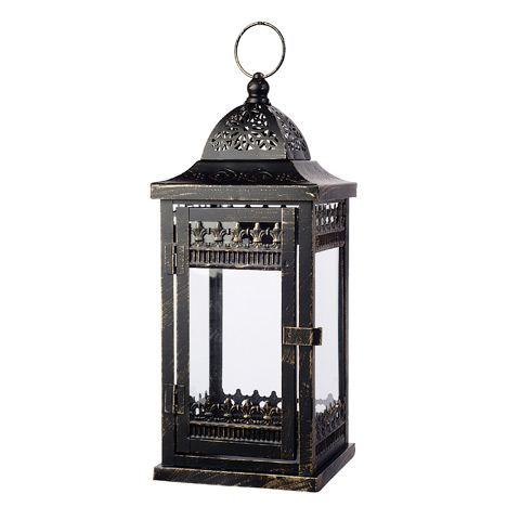 Darice Black Metal Lantern with Distressed Gold Accents: 5.91 x 14.57 inches
