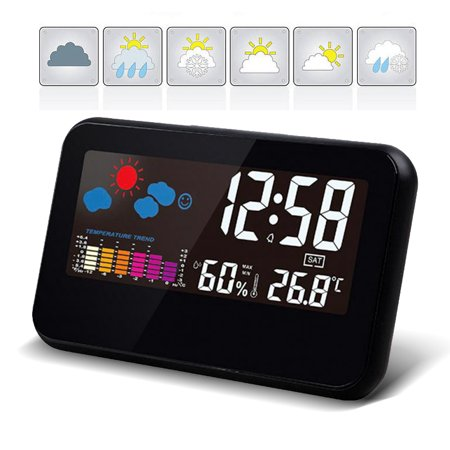 Electronic LED Digital Alarm Clock Humidity Meter Room Thermometer Temperature Deck