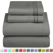 Queen Size Bed Sheets Set by Nestl - Deep Pocket 4 Piece Bed Sheet Set - 1800 Hotel Luxury Soft Double Brushed Microfiber - Wrinkle, Fade, Stain Resistant - Hypoallergenic, Charcoal Gray