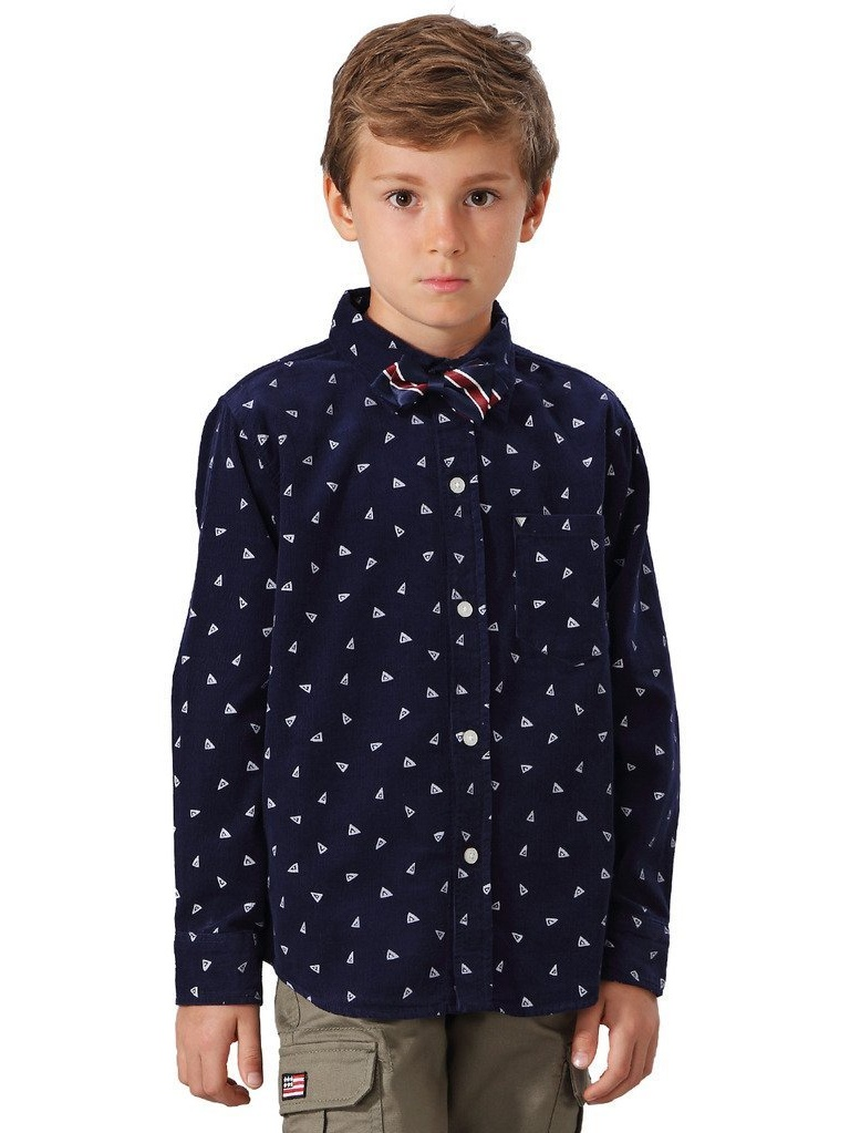 Leo&Lily Big Boys' Casual Cotton Corduroy Print Dot Casual Woven Shirts With Tie