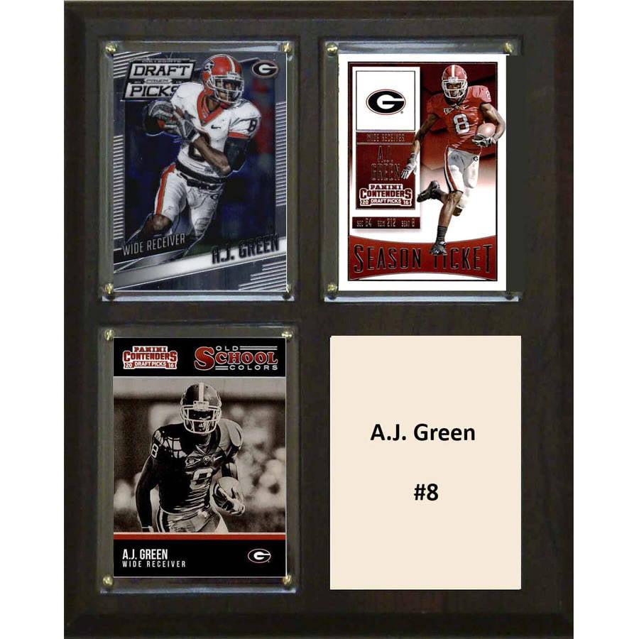 """C & I Collectables NCAA 8"""" x 10"""" A.J. Green Georgia Bulldogs 3 Card Plaque"""