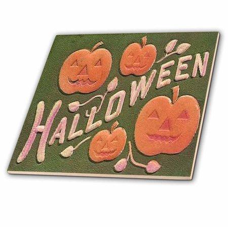 3dRose Vintage Halloween Jack o Lanterns - Ceramic Tile, 4-inch