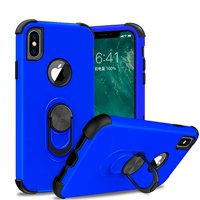 iPhone Xs Max 6.5-Inch,Dual Layer Hard Case with Silicone Shock Proof Defender Cover Protective Phone Case Ring Stand for Apple iPhone Xs Max Case - Blue