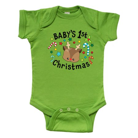 Baby's 1st Christmas Cute Reindeer with Candy Canes Infant Creeper