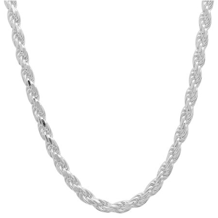 3.5mm 925 Sterling Silver Nickel-Free Diamond-Cut Rope Link Italian Chain + Bonus Polishing Cloth