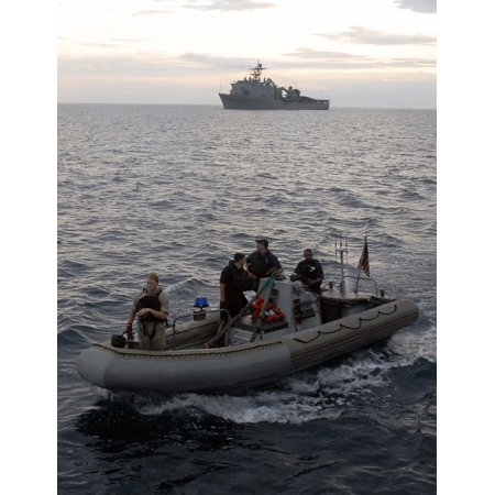 LAMINATED POSTER Sailors wait in a rigid-hull inflatable boat to transport the visit, board, search and seizure (VBS Poster Print 24 x 36 - Vbs Posters