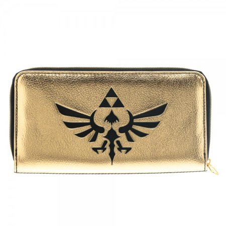 Legend of Zelda Legend Hyrule Crest Logo Black and Gold Zip Around Clutch Wallet