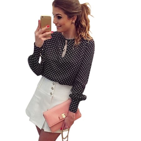 Womens Chiffon Polka Dot Long Sleeve Blouse Tops Shirt Casual Loose Tee (Polka Dot Poplin)