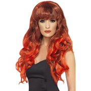 """26"""" Red and Black Flirty Fringe Curly Long Women Adult Halloween Siren Wig Costume Accessory - One Size"""