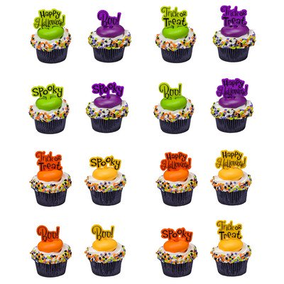 Happy Halloween Spooky Boo Trick or Treat -24pk Cupcake / Desert / Food Decoration Topper Picks with Favor Stickers & Sparkle Flakes - Halloween Cupcake Faces