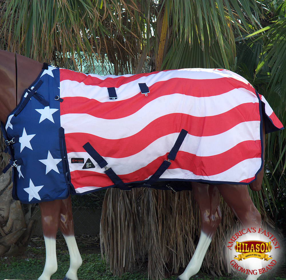 "66"" HILASON 1200D WATERPROOF TURNOUT WINTER HORSE BLANKET PATRIOTIC US FLAG"