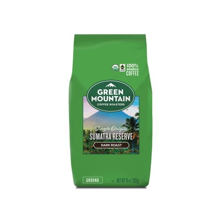 Fair Trade Sweet - Green Mountain Roasters Fair Trade Certified & Organic, Sumatra Reserve Ground Coffee, Dark Roast, Bagged 10 Ounce