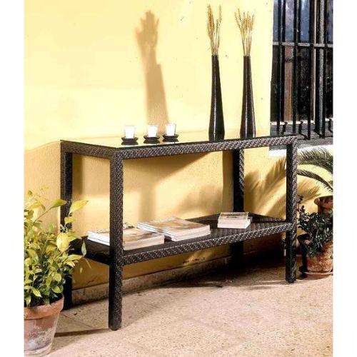 Soho Patio Console Table w Lower Shelf - Wicker Weave Java Brown