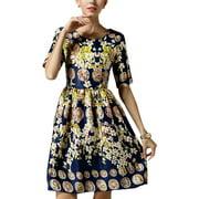 Ladies Retro Hidden Zipper Back Floral Prints Soft Dress Navy Blue M