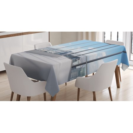 modern decor tablecloth, cityscape office with big windows clear