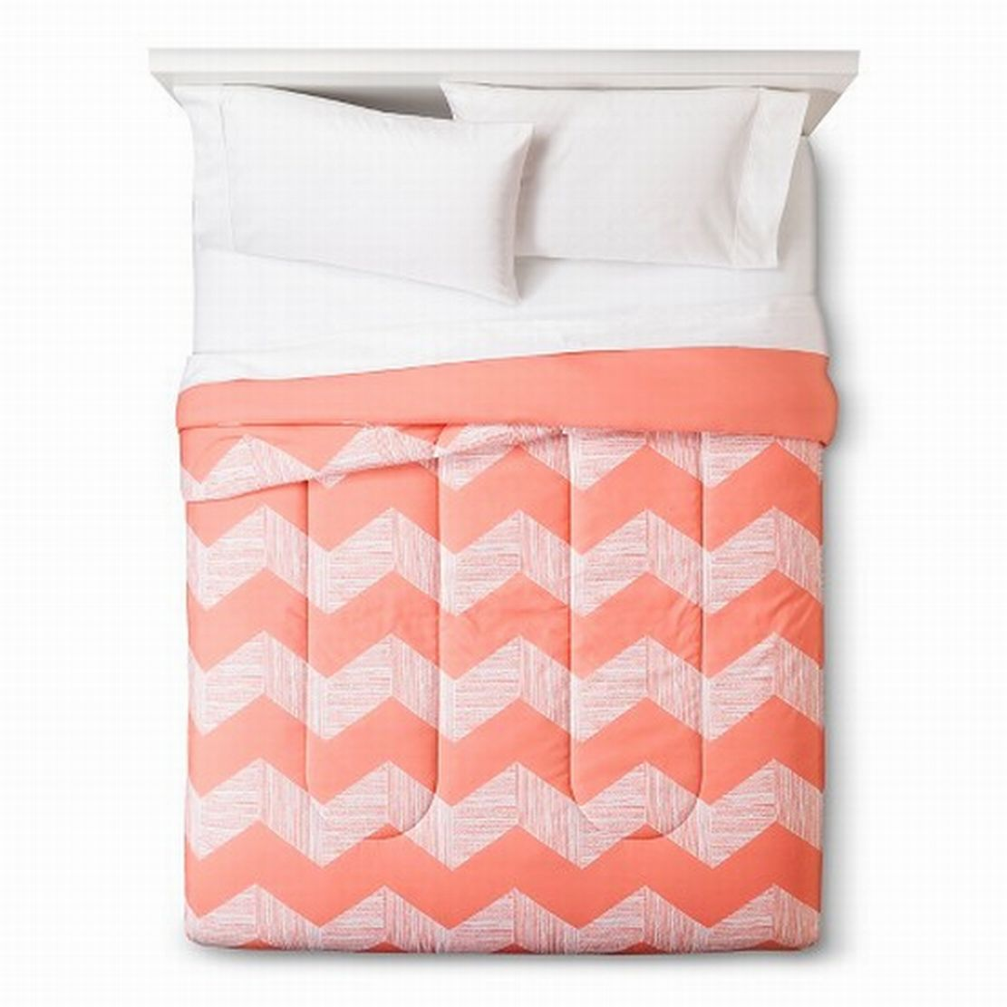 Room Essentials Twin XL Peach Chevron Reversible Comforter Dorm Bed