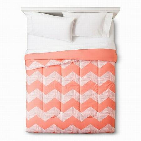 Room Essentials Twin Xl Peach Chevron Reversible Comforter