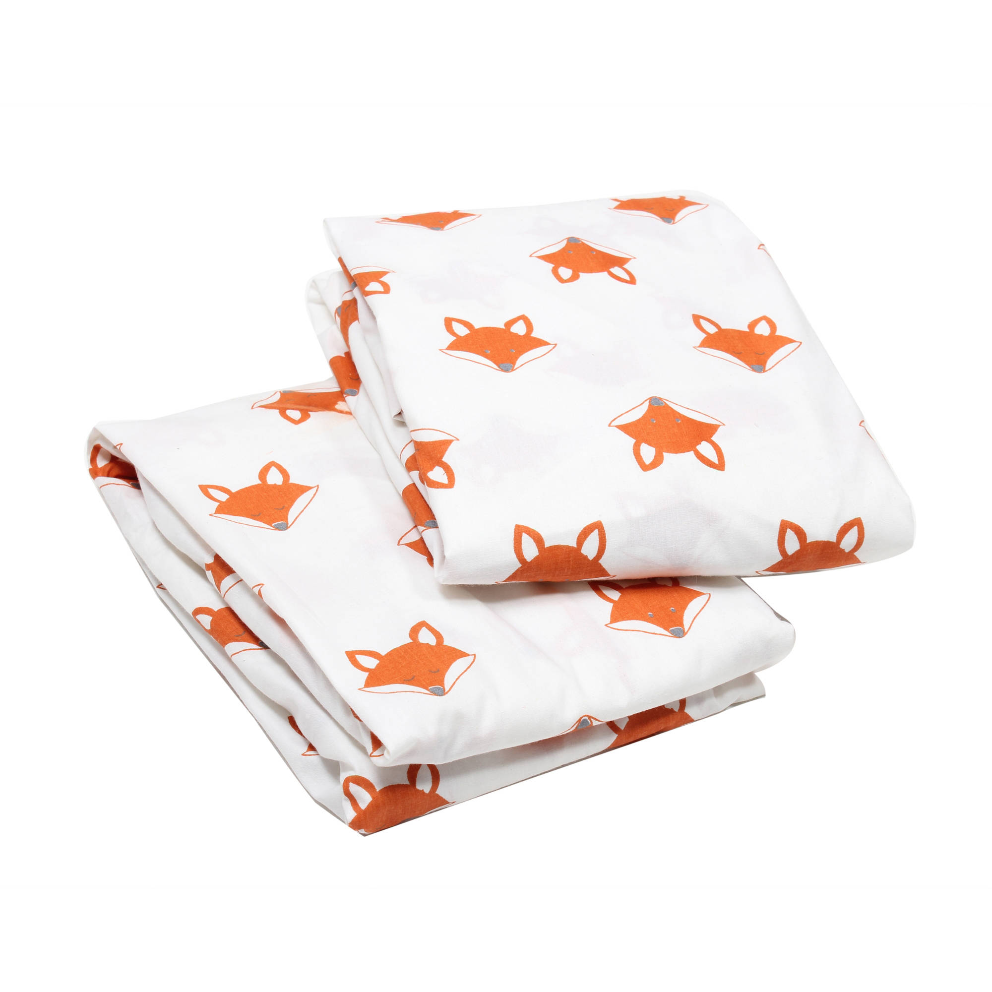 Bacati - Playful Foxs Orange/Gray 100% Cotton Percale Crib/Toddler Bed Fitted Sheets, 2-Pack