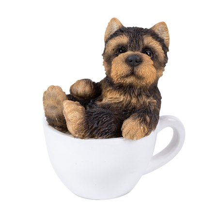 Pacific Giftware Yorkie Puppy Adorable Mini Teacup Pet Pals Puppy Collectible Figurine 3.25 Inches