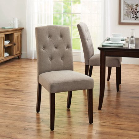 Set of 2, Better Homes and Gardens Parsons Tufted Dining Chair in Taupe 2 Piece Parson Chair