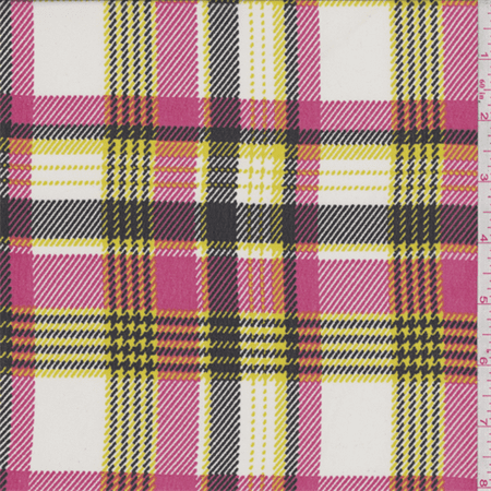 Hot Pink/Yellow Plaid Polyester Chiffon, Fabric Sold By the Yard (Hot Pink Plaid Cross)
