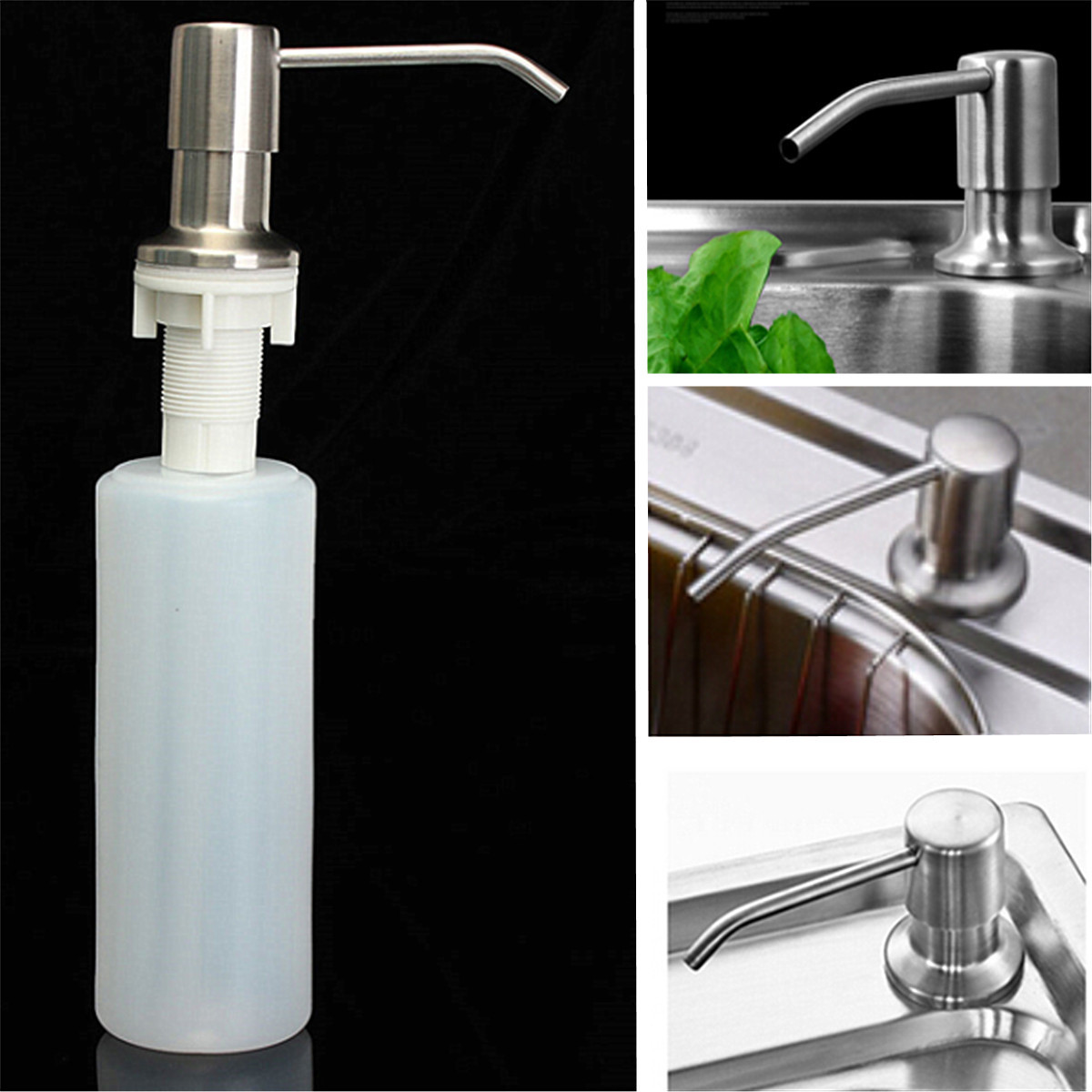 350ML Kitchen Sink Clear Liquid Lotion Hand Soap Dispenser 304 Stainless Steel Pump Head ABS Bottle Refillable Bathroom Accessories