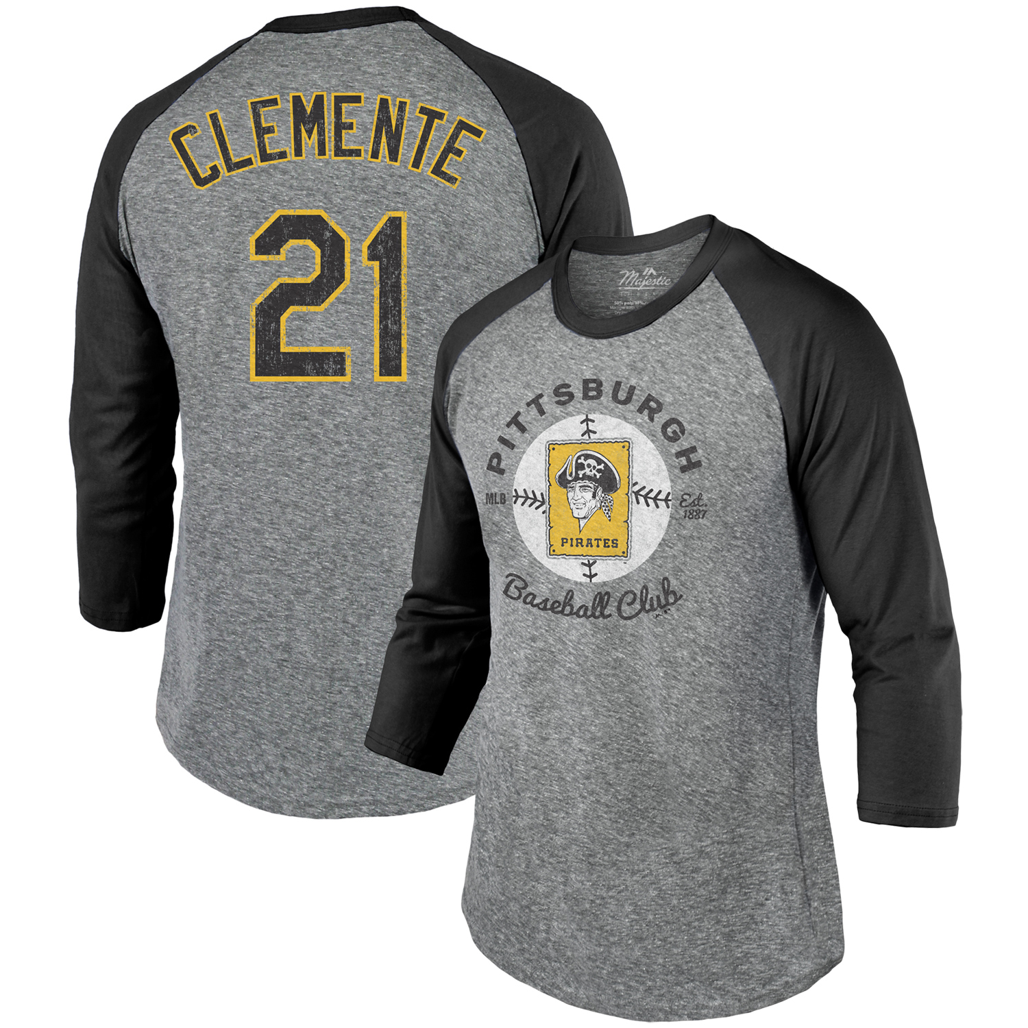 Roberto Clemente Pittsburgh Pirates Majestic Threads Cooperstown Collection Name & Number Tri-Blend 3/4-Sleeve T-Shirt - Gray/Black