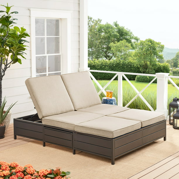 Mainstays Cushion Steel Outdoor Chaise Lounge - Set of 2 - Tan/Black