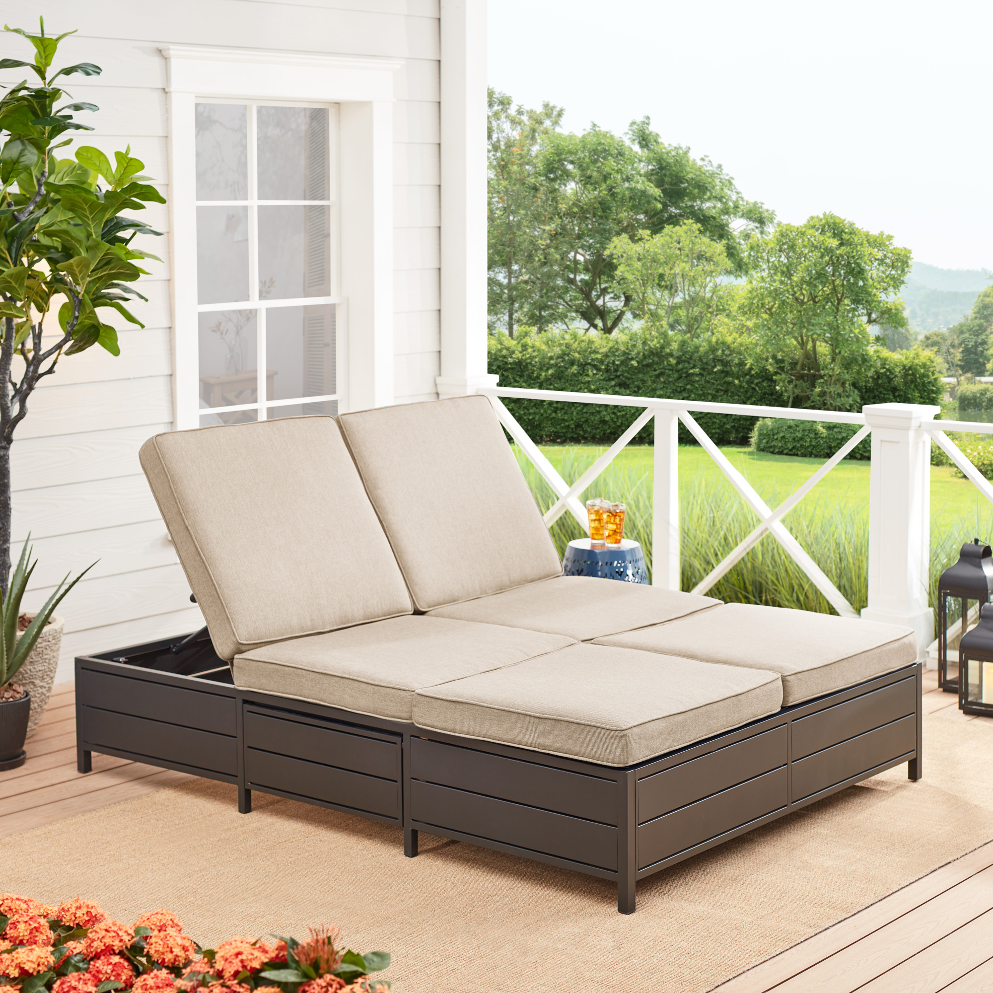 Mainstays Outdoor Patio Double Chaise Lounge Bench