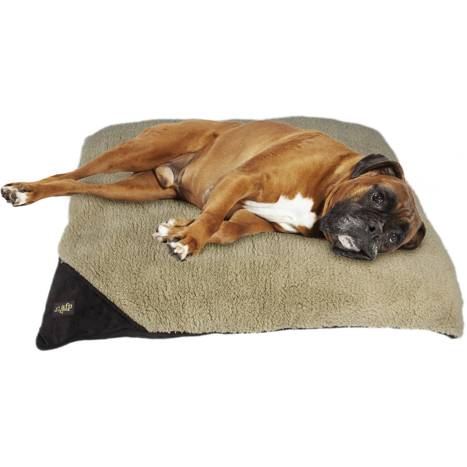 AFP Lambswool Pillow Bed, Brown, Lg