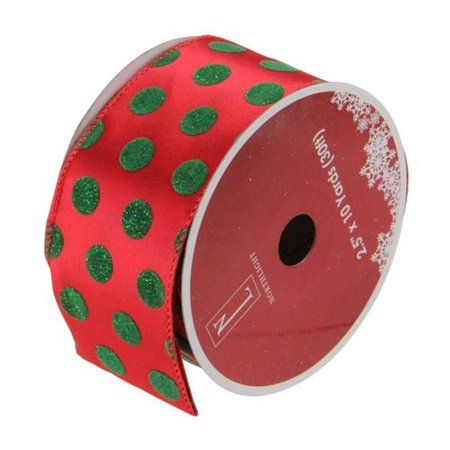 Christmas Wired Ribbon (Red and Shimmering Green Polka Dot Wired Christmas Craft Ribbon 2.5