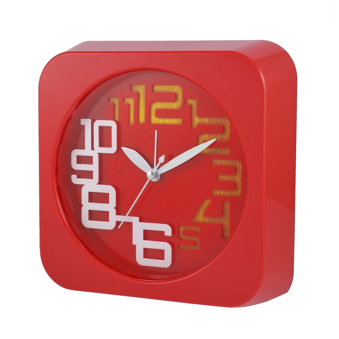 Hard Plastic Red Metal Hands Wall Alarm Clock for Bedroom