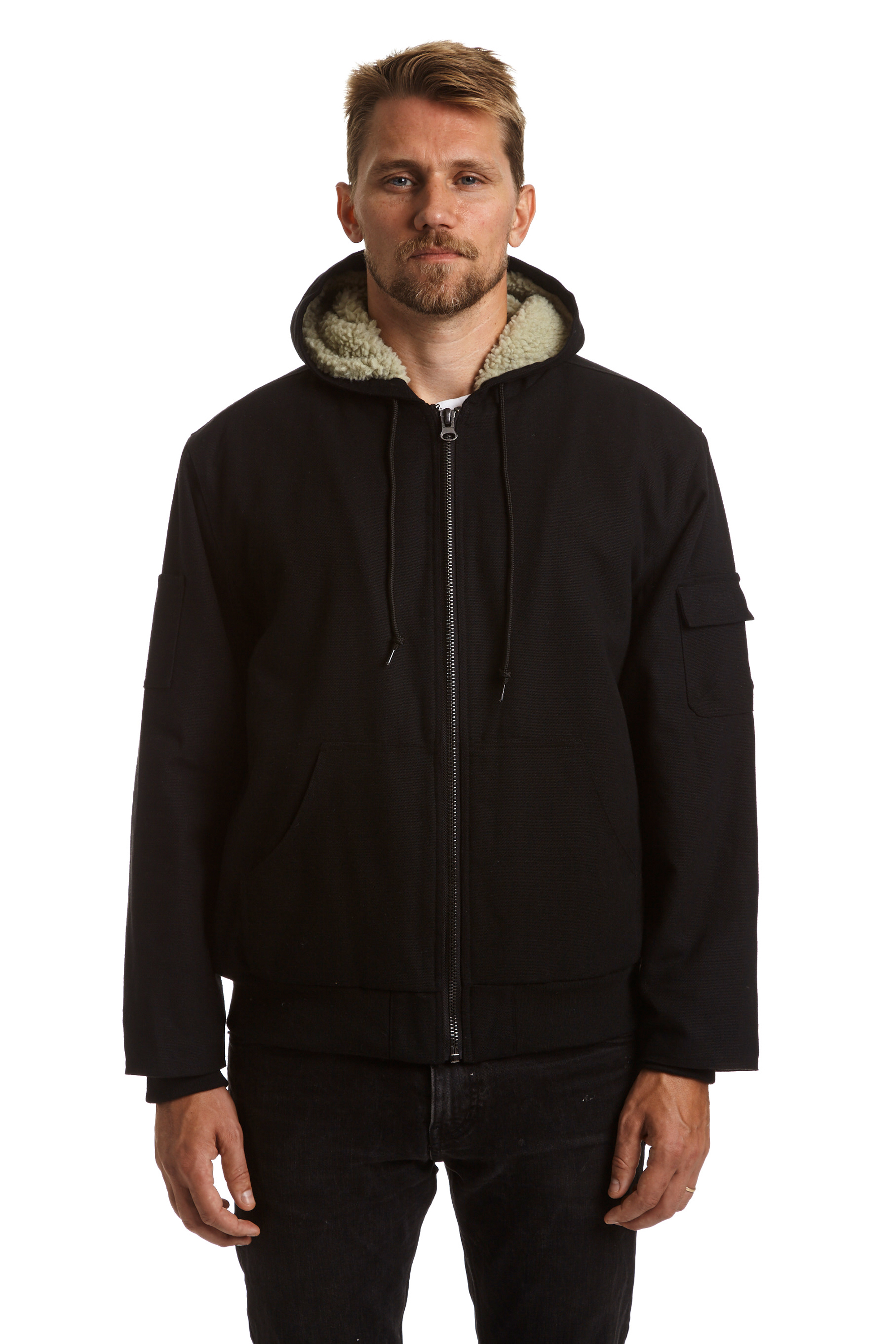 Men's Full Zip Canvas Jacket with Sherpa Lining