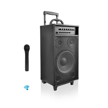 Pyle PWMA1080IBT - Wireless Portable Bluetooth PA Speaker System, Built-in Rechargeable Battery, Wireless Microphone, iPod Dock, 800 Watt