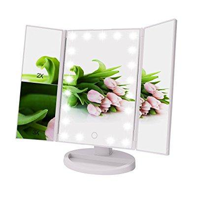 Weily Tri Fold Lighted Makeup Vanity Mirror With 21 Led