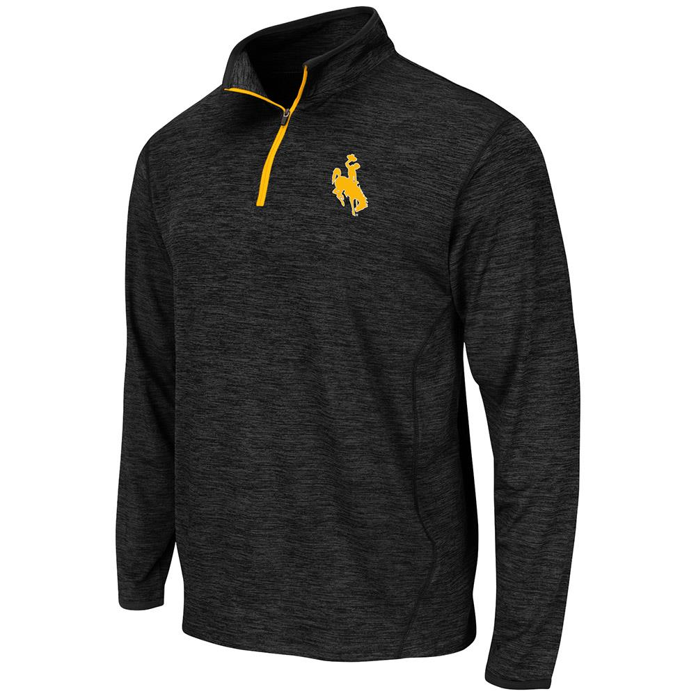 Mens Wyoming Cowboys Action Pass Long Sleeve Quarter Zip Tee Shirt